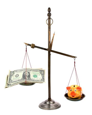 ascertain: pharmacist scales with money and piggybank Stock Photo