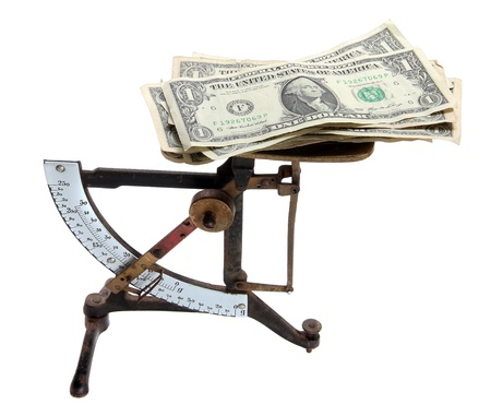 ascertain: old scale with dollar notes