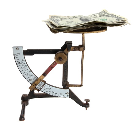ascertain: old letter scales with money