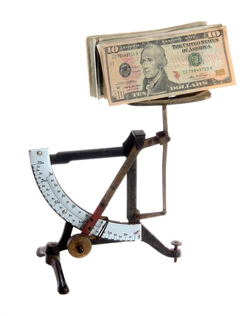 very old letter scales with dollar notes Stock Photo - 12290996
