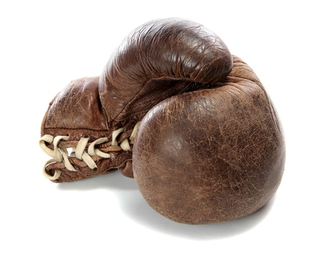 old brown boxing glove Stock Photo