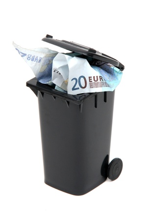 european bank notes in black rubbish bin on white