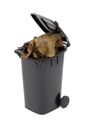 organic waste in black rubbish bin on white photo
