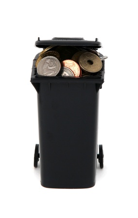 black garbage bin with european coins on white photo