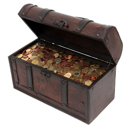 treasure chest: cofre del tesoro con monedas