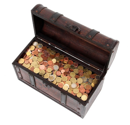 Open chest with money photo