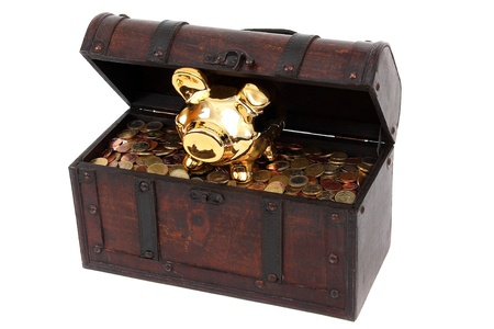 piggy bank and chest with coins Stock Photo