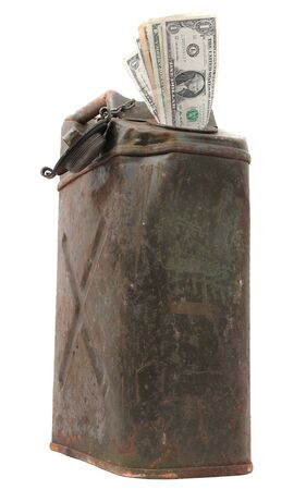 destitution: old jerrycan with dollar notes