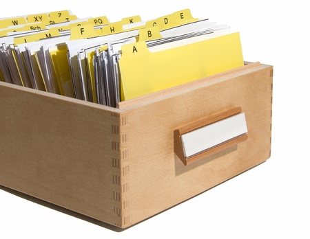 yellow index in card box