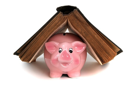pink piggy bank under old book photo