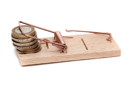 mousetrap: loose cash on mousetrap Stock Photo