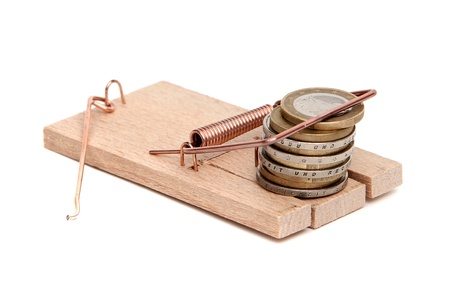 loose cash on mousetrap Stock Photo - 12291380