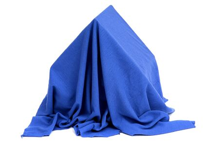 house coverd with blue drapery photo
