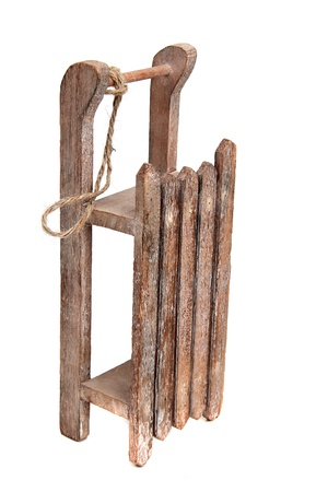 old wooden sledge with rope