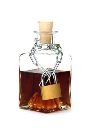 dependent: Protected bottle of whiskey
