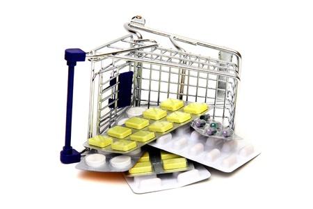 shoppingcart: toppled shoppingcart with medicines Stock Photo
