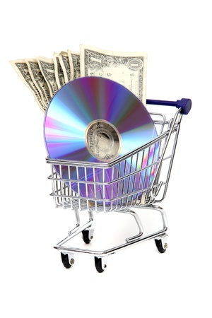 shoppingcart with dollars and DVD photo