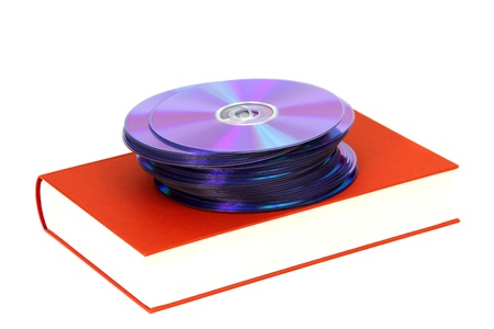 dvds: book with DVDs on white
