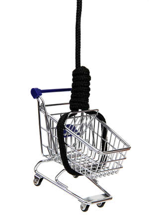 commodities: shopping addiction - basket of commodities on gibbet