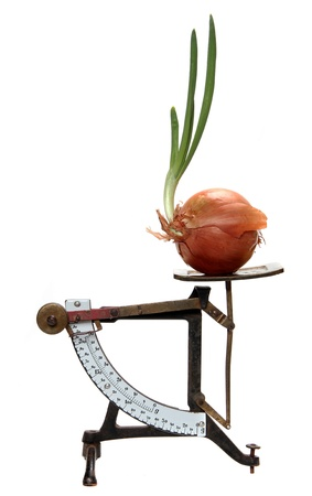 ascertain: growing onion on old letter scales