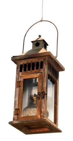 oillamp: old wooden oil lamp