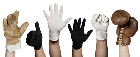gant blanc: concept de gants diff�rents