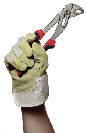 handyman holding a pincers in his hand photo
