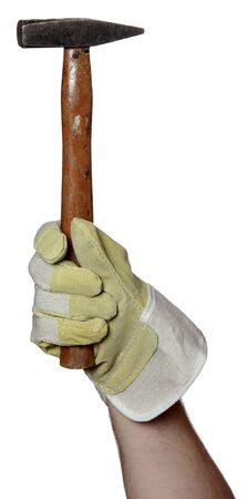handyman with work glove holding a hammer photo