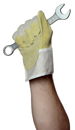 handyman with work glove holding a screw wrench photo