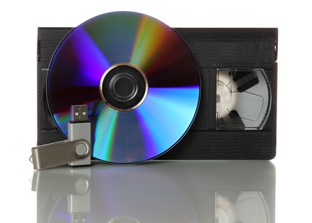 videotape: videotape with cd and usb-stick Stock Photo