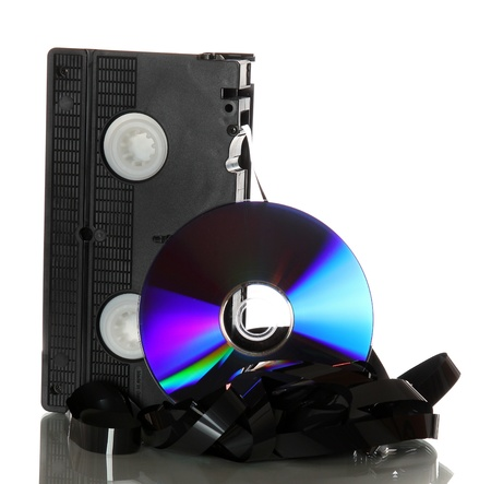 damaged videotape with cd photo