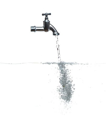 faucet with water and bubbles