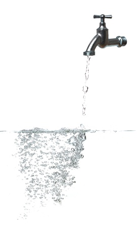 fresh water with faucet and bubbles
