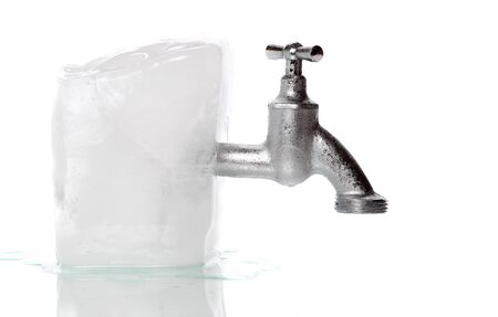 watertap: ice with frozen water-tap Stock Photo