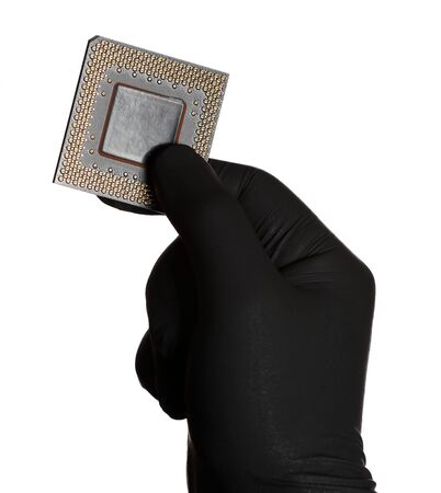 microprocessor: microprocessor and black gloves