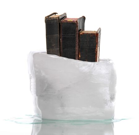 songbook: Stack of very old prayer books captured in ice