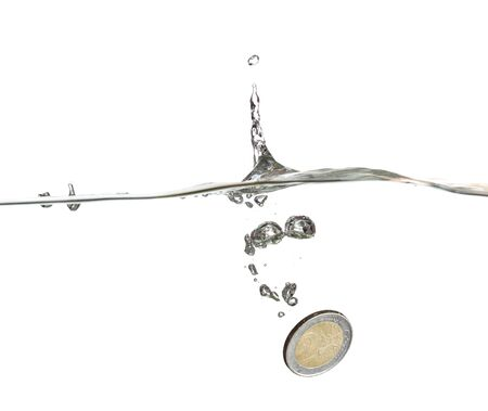 european coin in water photo