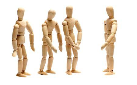 Arbeitgeber und Team von Holzpuppen Standard-Bild