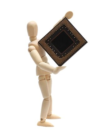 wooden doll holding semiconductor Stock Photo - 15482750