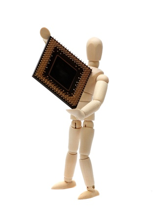 wooden doll with semiconductor Stock Photo - 15482748