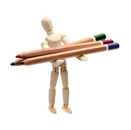 wooden doll with pencils Stock Photo - 15482753