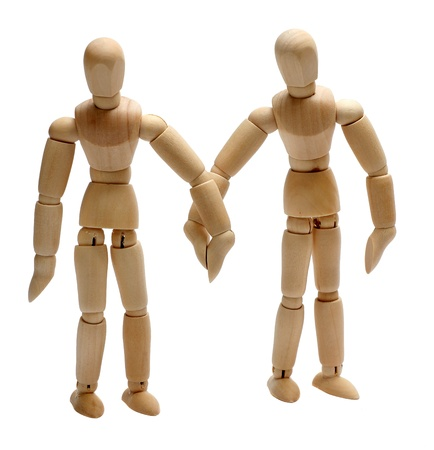 two wooden doll in love Stock Photo - 15482728