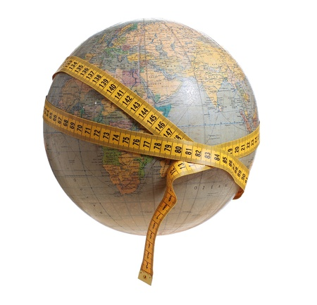 globe with measure tape Stock Photo