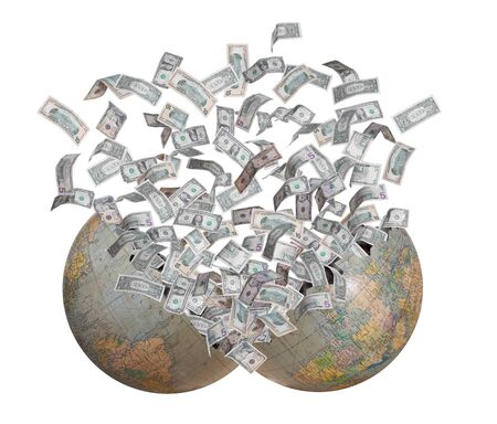 dollars flying out of burst earth Stock Photo - 17080503