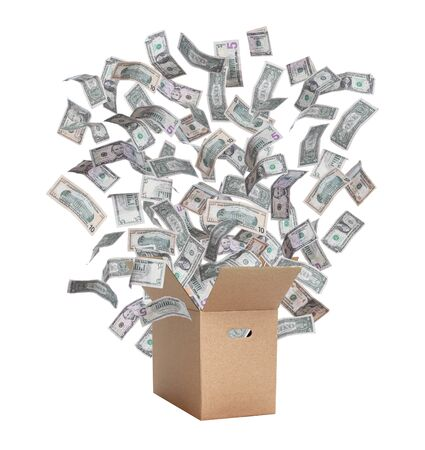 paper box with flying dollars photo