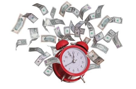 alarmclock: alarmclock with flying dollars