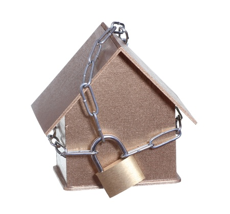home protected with padlock and chain Stock Photo - 17080434