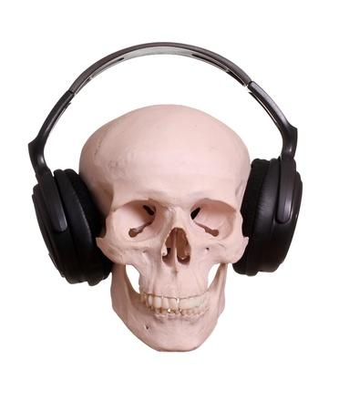 skull with headphones photo