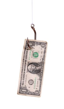 fishhook: fishhook with dollar note Stock Photo