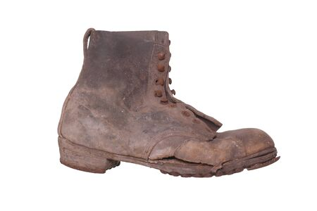 muddy clothes: old shabby shoe Stock Photo